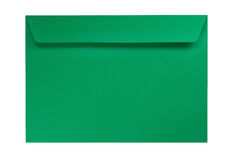 Grüner Umschlag getrennt auf Weiß Lizenzfreie Stockfotografie