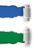 Grüner und blauer Hintergrund auf Weiß zerriss Papier Lizenzfreie Stockbilder