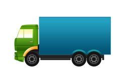Grüner und blauer LKW Stockfotografie