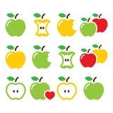 Grüner und gelber Apfel, Apfelkern, gebissene, halbe Vektorikonen Lizenzfreies Stockbild