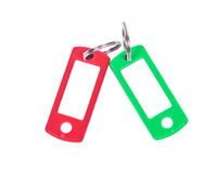 Grüner und roter Schlüsselhalter Stockfotografie