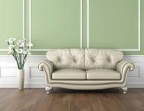 Grüner und weißer klassischer Innenraum lizenzfreie abbildung