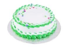 Grüner und weißer unbelegter festlicher Kuchen Stockbilder