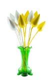 Grüner Vase mit goldenem und silbernem Lotos Lizenzfreie Stockfotografie