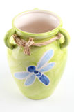 Grüner Vase mit Libelle Lizenzfreie Stockfotos