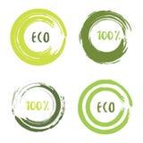 Grüner Vektorsatz mit Kreisbürstenanschlägen für Rahmen, Ikonen, Fahnengestaltungselemente Schmutz eco Dekoration Lizenzfreies Stockfoto