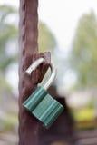 Grüner Verschluss auf einem Metalltor Stockfotos