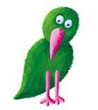Grüner Vogel mit dem rosafarbenen Schnabel stock abbildung
