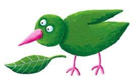 Grüner Vogel und Blatt Lizenzfreie Stockfotografie