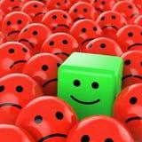 Grüner Würfelsmiley glücklich Lizenzfreie Stockfotografie