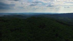 Grüner Wald und Gebirgszug mit blauem Himmel, Vogelperspektive stock video footage