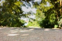 Grüner Wald- und Straßenhintergrund stockfoto