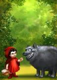Grüner Waldhintergrund mit einem Mädchen Stockbild