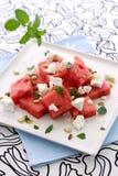 Grüner Wassermelonefetasalat Lizenzfreie Stockfotos