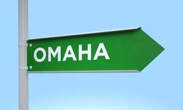 Grüner Wegweiser Omaha lizenzfreie stockfotos