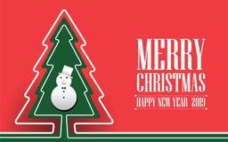 Grüner Weihnachtsbaum gemacht vom Bandvektorbild auf rotem Hintergrund Beschriftung der frohen Weihnachten Einladung des neuen Ja stock abbildung