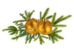 Grüner Weihnachtsbaumast und goldener Weihnachtsdekorationsball Lizenzfreies Stockbild