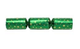 Grüner Weihnachtscracker Stockfotografie