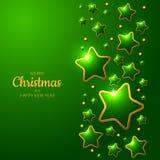 Grüner Weihnachtshintergrund mit glänzenden Sternen Lizenzfreie Stockfotografie