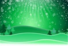 Grüner Weihnachtshintergrund mit Schneeflocken Dieser Junge mag Sport und im Freienspiele Lizenzfreies Stockbild