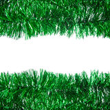 Grüner Weihnachtslamettarahmen stockfotos