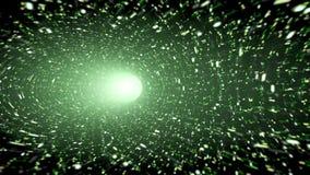 Grüner Wormhole mit Scheinen Stockfotografie