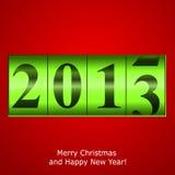 Grüner Zählwerk des neuen Jahres auf rotem Hintergrund Lizenzfreies Stockfoto