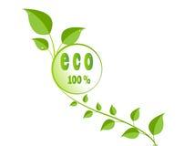 Grünes ökologisches Blattzeichen Stockfoto