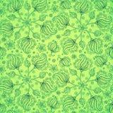 Grünes abstraktes Gekritzel blüht nahtloses Muster Stockbilder