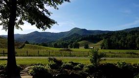 Grünes Ackerland und Berge Stockfoto