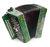 Grünes Akkordeon. lizenzfreie stockfotos