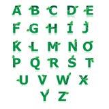 Grünes Alphabet mit Blatt stellte a bis z-Vektor ein Lizenzfreie Stockfotos