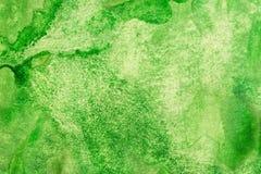 Grünes Aquarell gemalter Hintergrund Stockfotografie