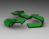 Grünes aufbereitensymbol gebildet vom Glas Stockbilder