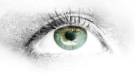 grünes Auge, das nach der Zukunft sucht lizenzfreie stockfotografie