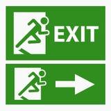 Grünes Ausgangsrettungszeichen auf Weiß Stockfotografie