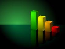 Grünes Balkendiagramm des Geschäfts-3D aufwärts neigen Stockfotos