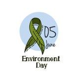 Grünes Band des Weltumwelttags als Blatt Grünes Band des Vektors als Blatt auf einem weißen Hintergrund Lizenzfreie Stockfotografie