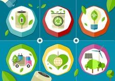Grünes Batterieauto Eco-Ikonen Stockfotografie
