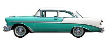 Grünes Bel Air-Weinlese-Automobil gegen weißen Hintergrund Stockfotografie
