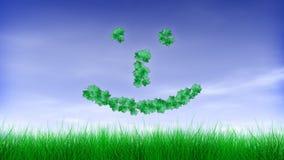 Grünes Blatt-glücklicher Gesicht Emoticon:-) stock abbildung