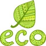 Grünes Blatt- und ecozeichen lizenzfreie abbildung