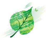 Grünes Blatt von der Zeile Pinsel Stockbilder
