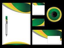 Grünes Briefpapier-Set Stockfotos
