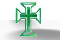 Grünes christliches Kreuz Stockfotografie
