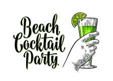 Grünes Cocktail des Alkohols mit slise Kalk Weinlesestich mit Beschriftung stock abbildung