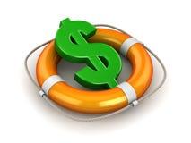 Grünes Dollar-Symbol im Rettungsring stock abbildung