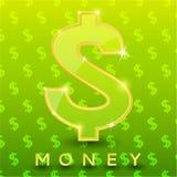 Grünes Dollarzeichen auf Musterhintergrund Stockbilder