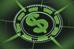 Grünes Dollarzeichenemblem Stockfotos
