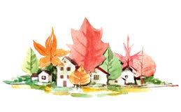 Grünes Dorf lizenzfreie abbildung